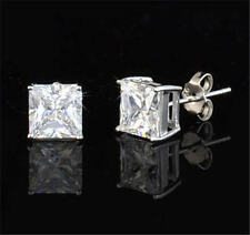 USA TOP GRADE WGP 1CT 2CT 3CT PRINCESS CUT SIMULATED DIAMOND EARRINGS EARSTUDS