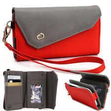 New! Kroo Designer Fashion Smart-Phone Wristlet Clutch EPI Leather Pouch Red