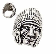Mens Silver Indian Chief Stainless Steel Ring US Size 8,9,10,11, 12, 13