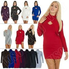 New Ladies Womens Plain Bodycon Keyhole Turtle Neck Jumper Dress Size 14 12 10 8