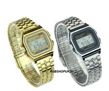 Unisex Golden / Silver Retro Vintage Style Digital Classic Steel Metal Watch