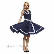 Maggie Tang 50s 60s VTG Pinup Nautical Sailor Rockabilly Swing Party Dress R-526