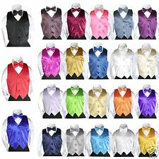 2pc Set Satin Vest Bow Tie Baby Toddler Kids Teen Formal Boy Suits 23 Color 8-28