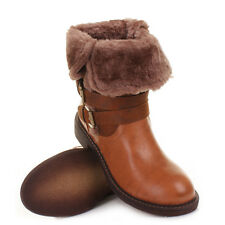 Womens Fur Cuff Foldover Buckle Warm Winter Biker Ankle Ladies Boots Size 3-8