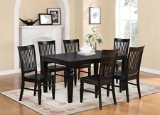 7-PC SET RECTANGULAR DINETTE DINING ROOM TABLE WITH 6 WOOD SEAT CHAIRS IN BLACK