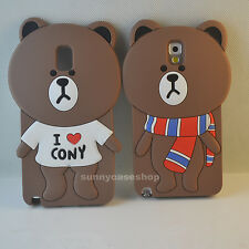 3D love Cute Brown Bear silicone soft  case for Various Mobile Phones cover skin