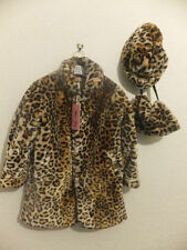 BRAND NEW GIRL'S CLASSY 3PC LEOPARD PRINT FAUX FUR COAT- SIZES 2-10 YEARS OLD