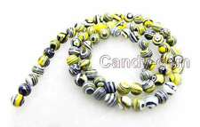 "Charming! small 6mm Yellow Multicolor Round agate beads strands 15"" -los578"