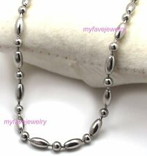Stainless Steel Rice oval Beads Balls Chain Necklace