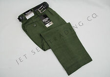 BOYS OLIVE DRESS PANTS PLEATED TROUSERS WITH BLACK BELT Sizes 4-7