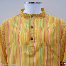 New Hippy Cotton Casual Grandad Shirt in Yellow / Orange Stripes - Festival Boho
