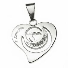 Women's Stainless Steel Heart Cubic Zirconia Pendant Necklace Mother's Day Gift