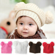 Colorful Warm Wool Knit Crochet Earflap Baby Kid Infant Beanie Cap Hat With Ball