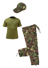 Kids Pack 2 Army Camo Fancy Dress Children's Soldier Outfit ( Shirt Pants Cap