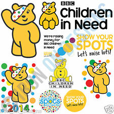 CHILDREN IN NEED IRON ON TSHIRT TRANSFERS PUDSEY BEAR FUNDRAISING A6 A5 A4