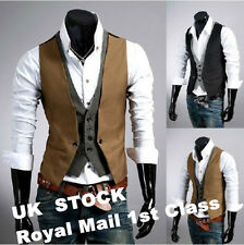 Men's Vintage Waistcoat jacket two false vest fashion checkered stitching jacket