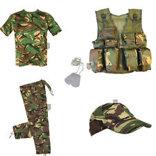 Kids - DELUXE B - Army Camo Fancy Dress Children's Soldier Outfit ( Shirt Pants