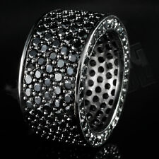 18K Black Gold 11mm Gunmetal ETERNITY Wedding MICROPAVE CZ Iced Out Men's Ring