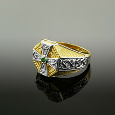 5mm Two-Tone Gold Celtic Cross Green CZ Mens Emerald Ring
