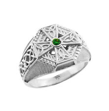 White Gold Celtic Cross with Round Green CZ Men's Emerald Ring (Made in USA)