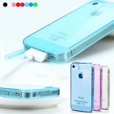 SOFT TPU SILICON GEL CRYSTAL MIX CLEAR MATTE CASE COVER FOR IPHONE 4 4G W/ FILM
