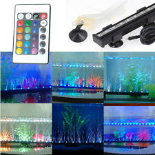 15 Colors Remote Control Aqauarium Fish Tank Bubble LED Light Bar Airstone RGB