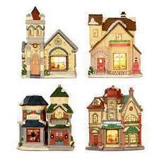 DANSON DECOR LIGHT-UP CERAMIC HOUSE X97801 4 DIFFERENT DESIGNS CHRISTMAS XMAS