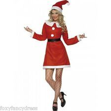 Value Miss Santa Dress with Collar,Belt and Hat Christmas Fancy Dress All sizes