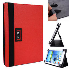 "Kroo Apple Red Universal Adjustable Folio Stand Cover for 7"" Tablets"