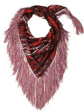 Isabel Marant pour H&M Red Silk Chiffon Scarf with Fringe Trim NEW w/TAGS