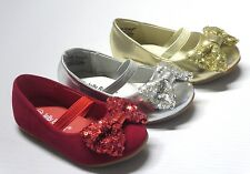 Girl Dress Flats w/ Sequins Bow (etana) Toddler Pageant Flower Girls Party