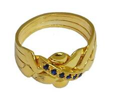 PUZZLE RING 18K YELLOW GOLD OVER STERLING SILVER 4-Band Sapphire  #2579-GS