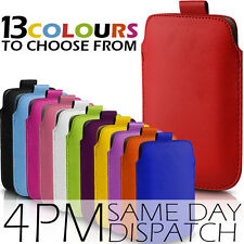 PREMIUM PU LEATHER PULL TAB CASE POUCH COVER FOR VARIOUS MOBILE PHONES