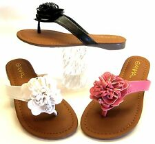 Girls Youth Toddler Faux Leather Summer Sandals Flower Beach Flip Flops Thongs