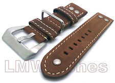 Leather Watch Strap Military Tan MILBN High Quality Sizes: 20/22/24mm New UK