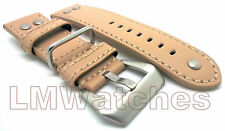Leather Watch Strap Military MILBN Beige High Quality Sizes: 20/22/24mm New UK