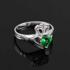 925 Sterling Silver Claddagh Ladies Ring with Birthstone Simulated Emerald