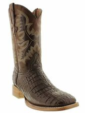 Men's brown crocodile alligator cowboy boots leather belly square toe western