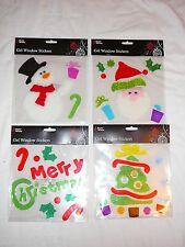 CHRISTMAS GEL WINDOW STICKERS SNOWMAN SANTA TREE REINDEER CUTE FESTIVE XMAS