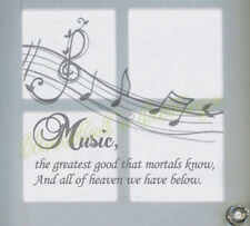 Music Notes Fancy Writing Quotes Mural Wall Art Decals Window Decoration Sticker
