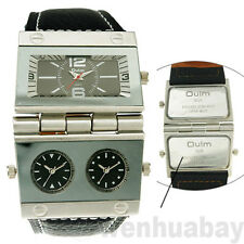 OULM Military Army Time Zone Movements Leather Band Sport Quartz Wrist Watch
