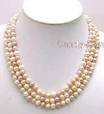 SALE 7-8MM MULTI-COLO​R Round Natural Freshwater PEARL 3 STRANDS Necklace-5​190