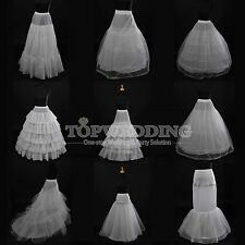 9 Styles Bridal Underskirts A-Line/Mermaid/Train Petticoat Crinoline Slips White