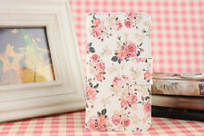 Card Holder Pink Flower PU leather Full Case Cover For Various Mobile phones