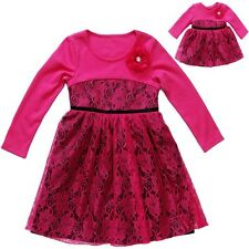 Girl 4-8 and Doll Matching Pink Lace Dress Outfit Fit American Girls Dollie & Me