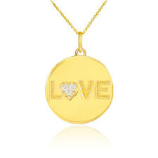 14k Yellow Gold LOVE Script Disc Pendant Necklace with Diamonds Valentine's Day
