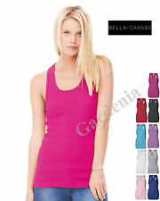 Bella 4070 Ladies 2 x1 Rib Racerback Longer Length Tank Top Womens New