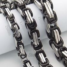 "MEN'S 16""~36"", 5/6/8MM Black 316L Stainless Steel Byzantine Box Chain Necklace"