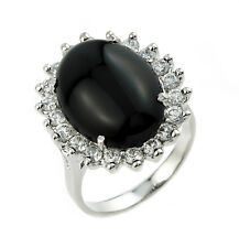 925 Sterling Silver Ladies Black Onyx Ring with 20 Round White Topaz