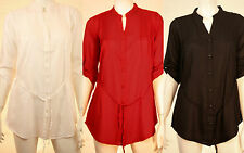 NEW LADIES WOMEN PLEATED FORMAL CASUAL  PARTY COLLARED BUTTONED SHIRT